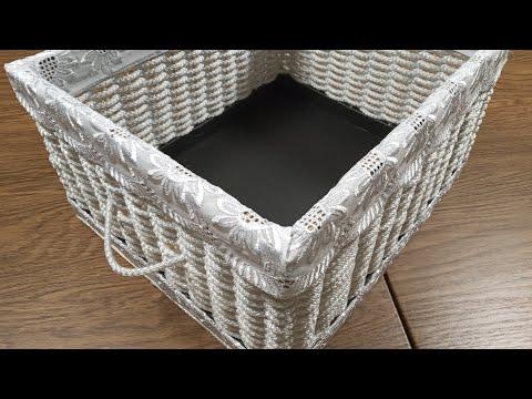 Интерьерная корзина из бельевой веревки - для хранения мелочей