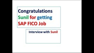 SAP FICO Interview with sunil| congratulations on your success