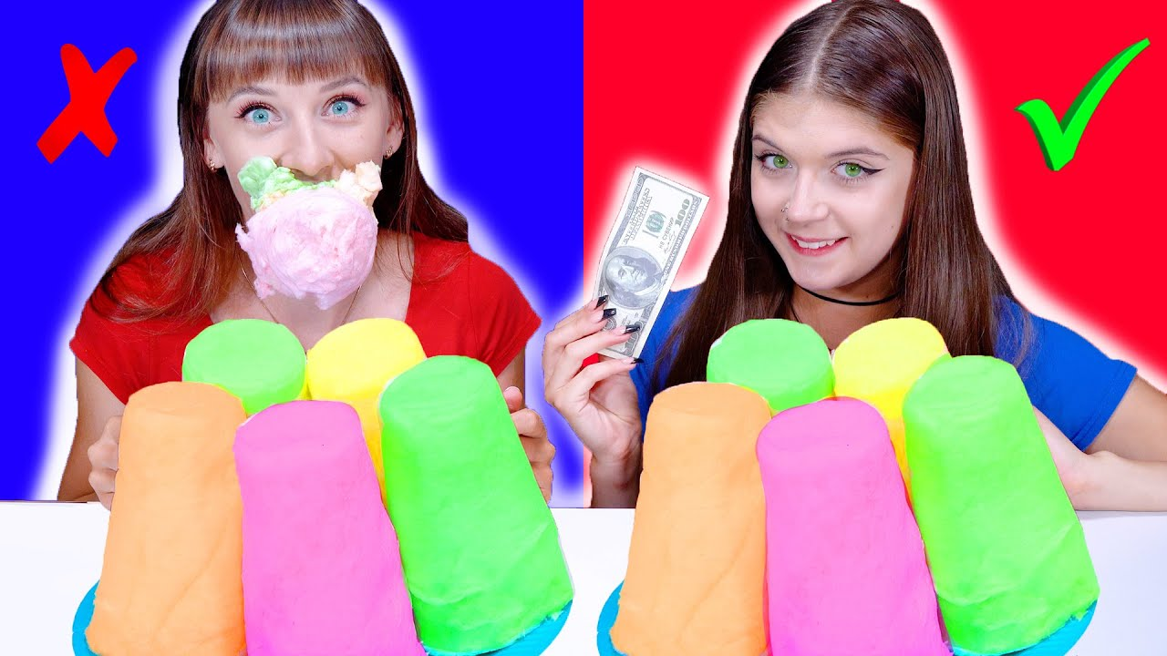 ASMR Candy Race with Money (Marshmallow, Chocolate Candy, Cotton Candy, Gummy Eggs)