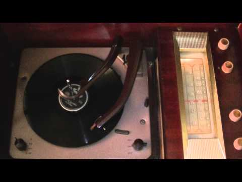 1956 OLYMPIC HIGH FIDELITY RADIO/RECORD PLAYER MODEL A590 -- HEAVEN ON EATTH -- THE PLATTERS