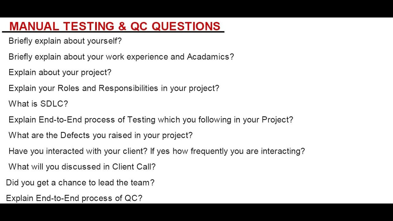 manual testing interview questions youtube rh youtube com manual testing interview questions mcq manual testing interview questions 2017 pdf