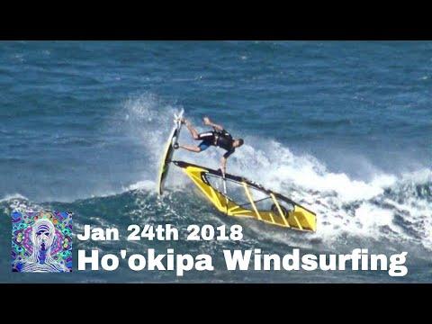 Ho'okipa Windsurfing Action Jan. 24th 2018