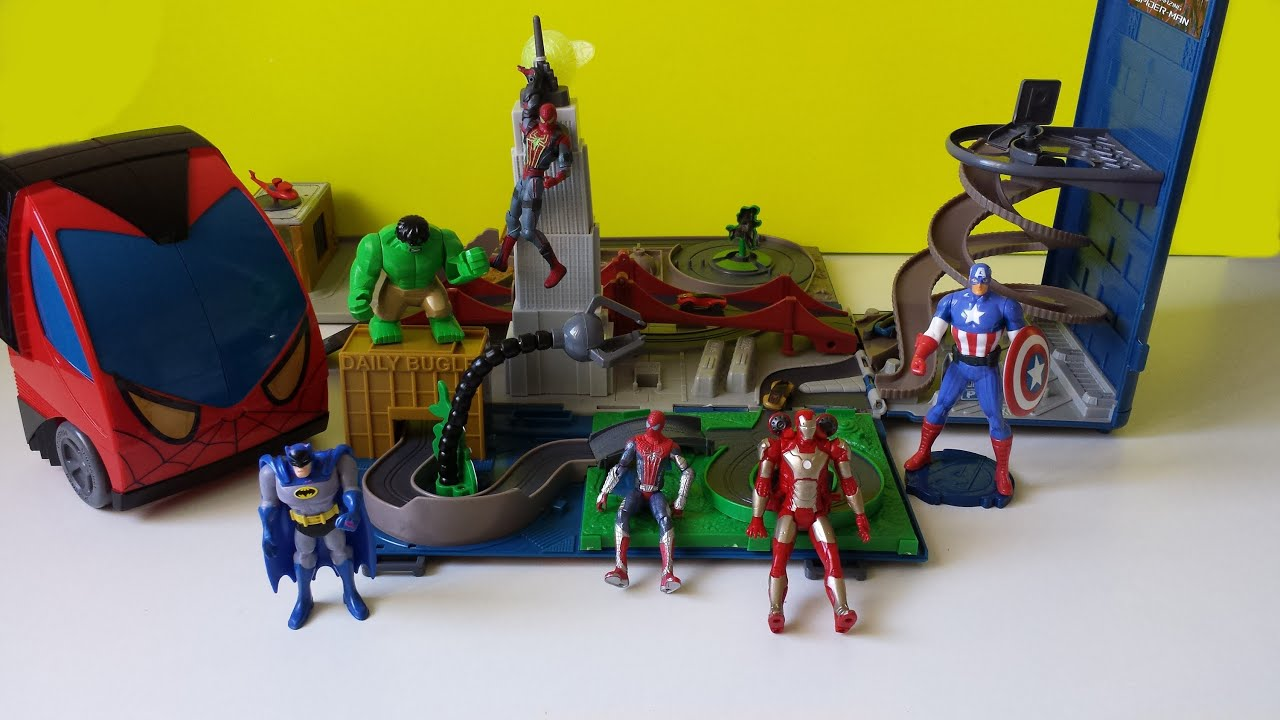 The Amazing Spiderman Truck Playset Marvel Toys Unboxing