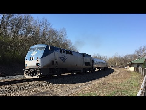 Amtrak HD 60 FPS: GE Genesis P42DC 180 Leads Pennsylvanian Train 42 @ Tyrone PA (4/16/16)