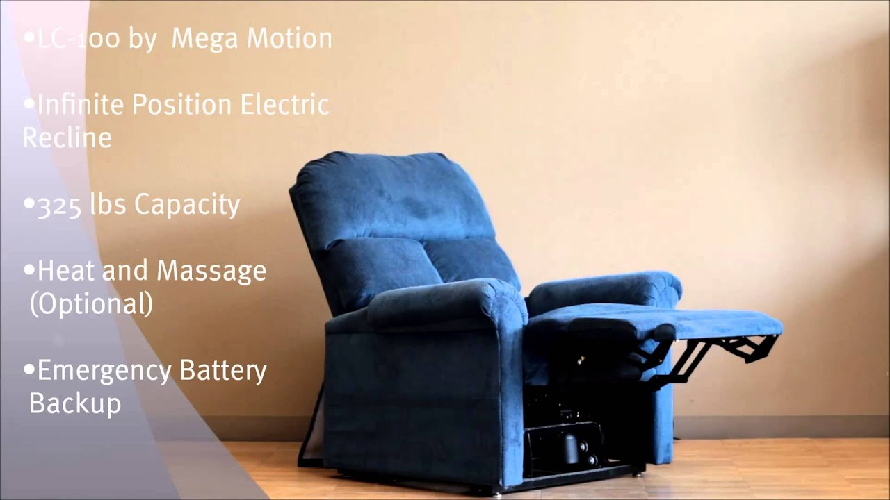 Mega Motion Lift Chair Customer Service Slip Cover Chairs Lc100 By With Infinite Recline Position Electric Motor