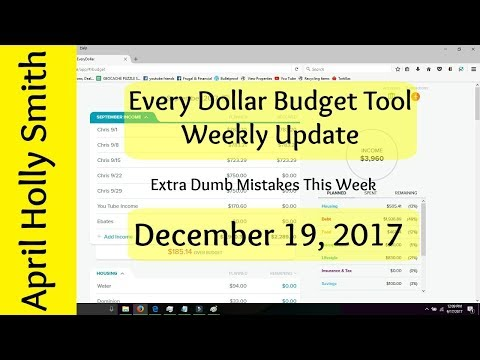 Weekly Budget Update  December 19, 2017  $5395.04   April Holly Smith