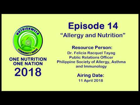 One Nutrition, One Nation Episode 14 - Allergy and Nutrition