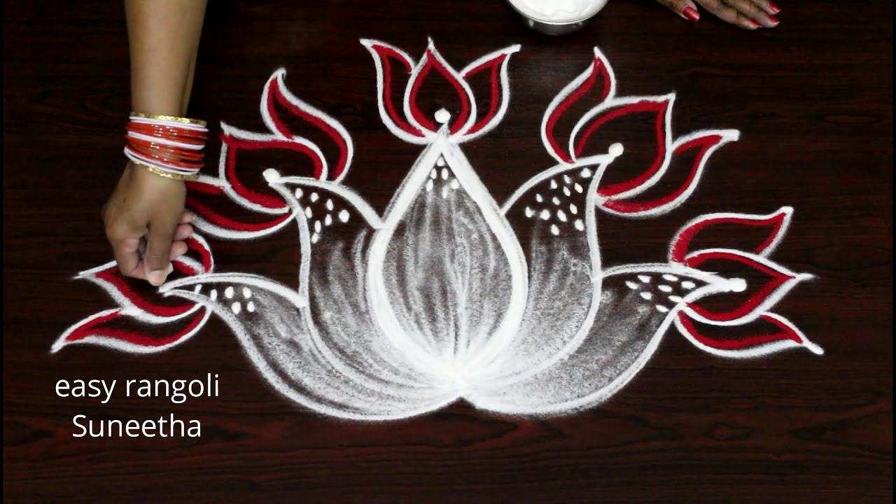 Creative Freehand Lotus Flowers Kolam Designby Easy Rangoli Suneetha