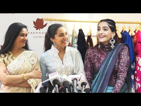Shraddha Kapoor & Sonam Kapoor At The Launch Of Padmasitaa Clothing Collection