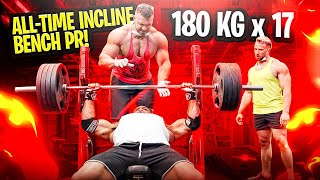 ALL-TIME INCLINE BENCH PRESS PR! 180 KG x 17!