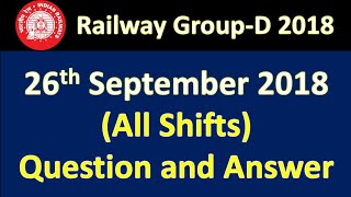 RRB Group-D All Shift (26th/sep/2018) Answer Key