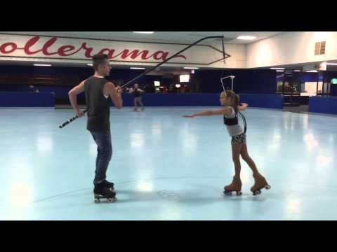 11yr old double axel & triple salchow roller figure skating on harness
