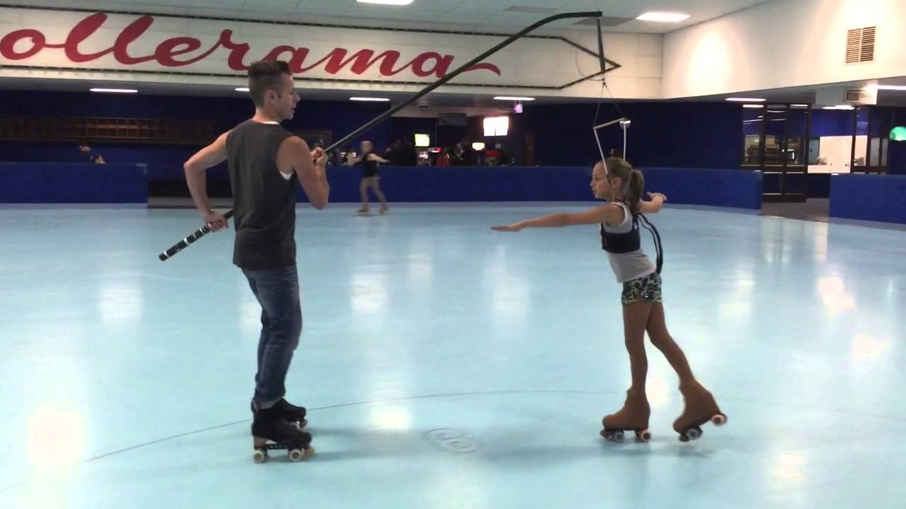 Roller skates for figure skating - 11yr Old Double Axel Triple Salchow Roller Figure Skating On Harness