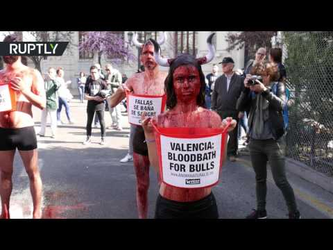 'Bloodbath for bulls': Animal rights activists protest bullfighting in Valencia