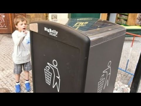Solar powered waste bins in Prague