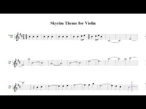 Skyrim Theme for Violin (sheet music)
