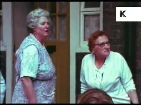 Old ladies tell off kids playing in London council estate 1970s