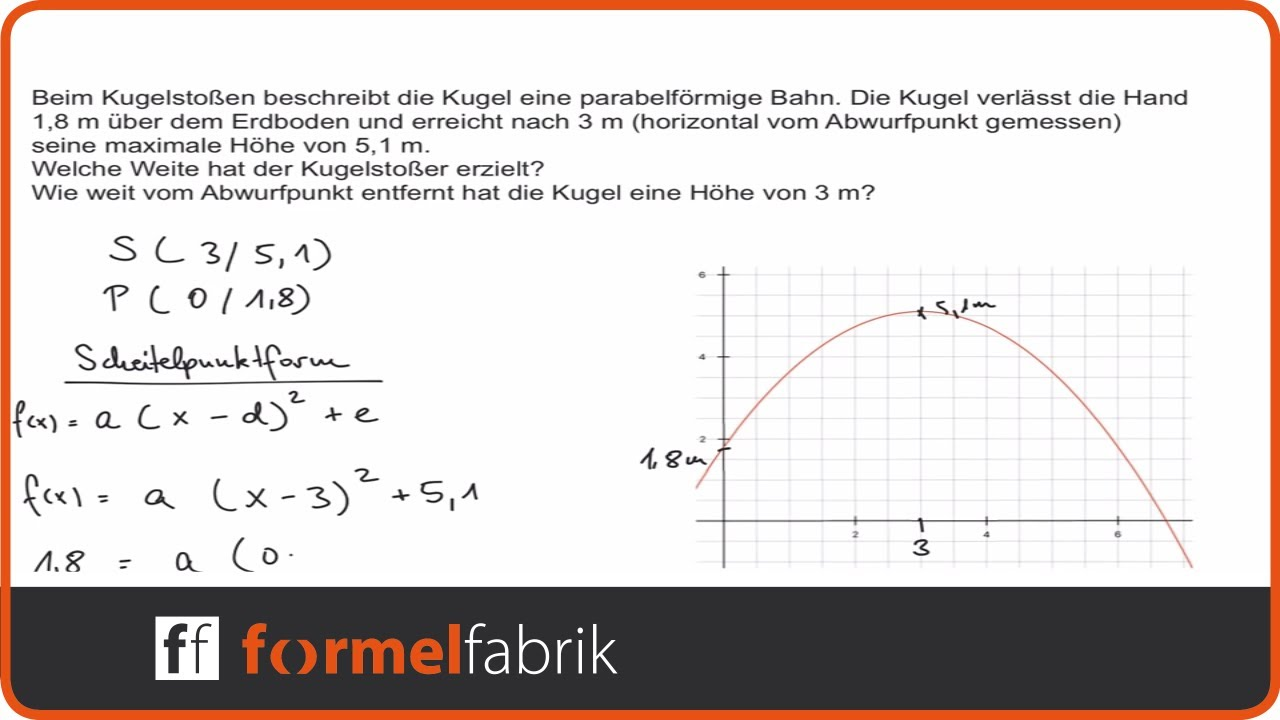 Quadratische Funktionen: Textaufgabe Kugelstoßen - YouTube