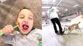FATHER SON PLAY TIME! / Dog At The Skatepark!