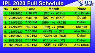IPL T20 2020 Full Schedule & Time Table || STARTING DATE - 19/9/2020