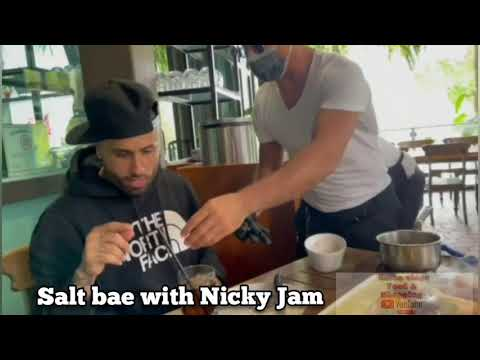 Nicky Jam meets Salt Bae in Dubai 2021 | Chef Nusret with Nicky Jam Preparing Salt Performance