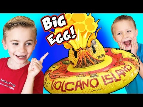 World's Biggest VOLCANO Egg! Blasts Surprises + Floating Fire Island Experiments HobbyKidsTV