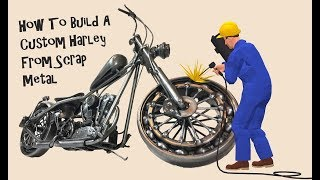 Time Lapse, How to Weld A Custom Harley Davidson bobber Motorcycle from Scrap Metal