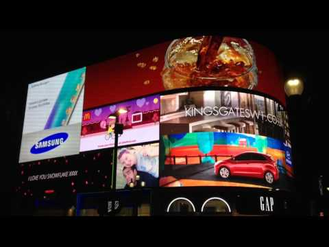 Valentine's Day message - Piccadilly lights! (Her video)