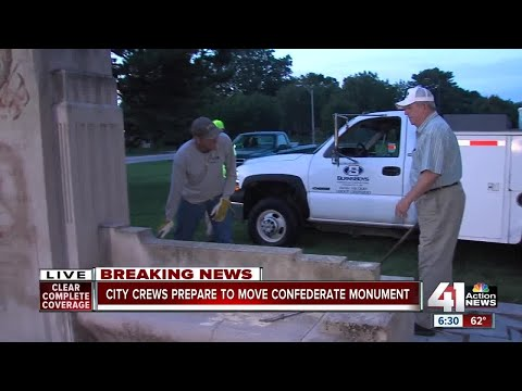 Watch: City crews remove Confederate monument on Ward Parkway