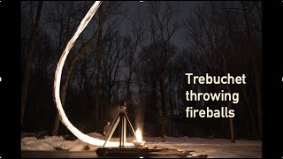 Trebuchet Throwing Balls of Fire ///. Homemade Science with Bruce Yeany