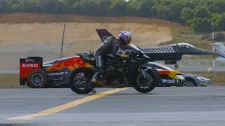Drag race: F1, supercar, superbike, fighter jet and private jet