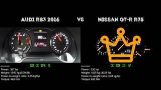 Audi RS3 2016 vs. Nissan GT-R R35 - the 0-100 km/h duel. Which one ...