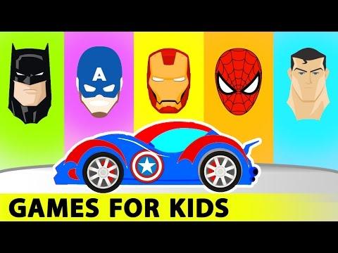 Batman SuperMan SpiderMan IronMan Captain America Cars Cartoon Funny Race for Children and Kids
