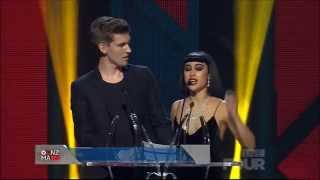 X Factor New Zealand judges Willy Moon and Natalia Kills present awards at the VNZMAs