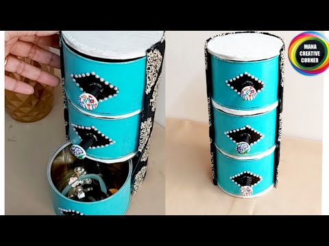 Useful organizer made from waste material at home #Jewelleryorganizer#Bestoutofwaste Tin can craft