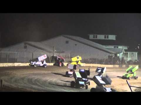 Plymouth Dirt Track May 2 2015 Sprint Car Feature Final Restart and Crash at Finish