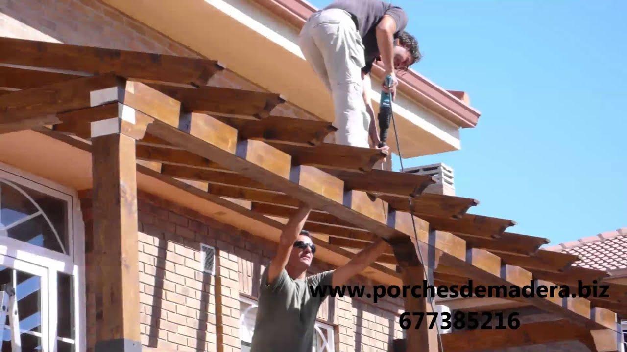 Montaje de porche de madera www porchesdemadera biz youtube - Como hacer un porche barato ...