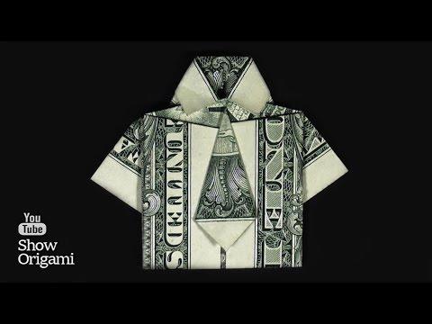Оригами #рубашка из доллара  Как сделать рубашку с галстуком из денег