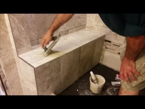 How To Grout A Shower Bench -Part 1- Grout The Horizontal Area ...