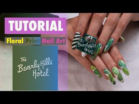 Nail Sunny tutorial: the Beverly Hills hotel green leaves nail art! thumbnail