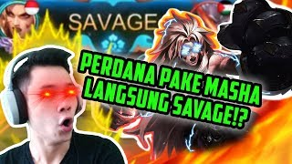 GAME KE 1 PAKE MASHA LANGSUNG SAVAGE!? NYAWANYA 3 BOSS!! - Mobile Legends