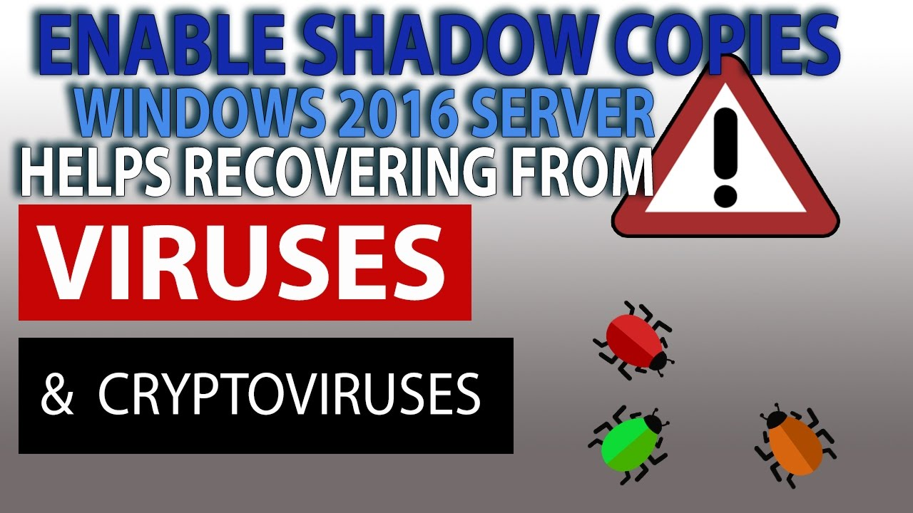 Using Vss (shadow Copies) To Protect From Crypto Virus,human Errors In  Windows Server 2016