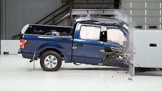 2019 Ford F-150 crew cab passenger-side small overlap IIHS crash test