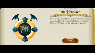 aqw 7th upholder badge 2015 shop review