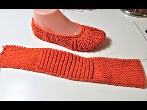 Схема вязания спицами тапочек простых