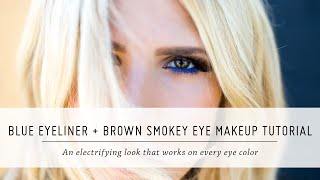 Blue Eyeliner and Brown Smokey Eye Makeup Tutorial | Knock Out Beauty First Impressions | Mr Kate