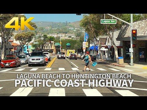 LAGUNA BEACH TO HUNTINGTON BEACH - Driving Pacific Coast Highway, Los Angeles, California, 4K UHD