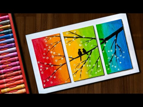 Love Birds scenery drawing with Oil Pastels for beginners - step by step