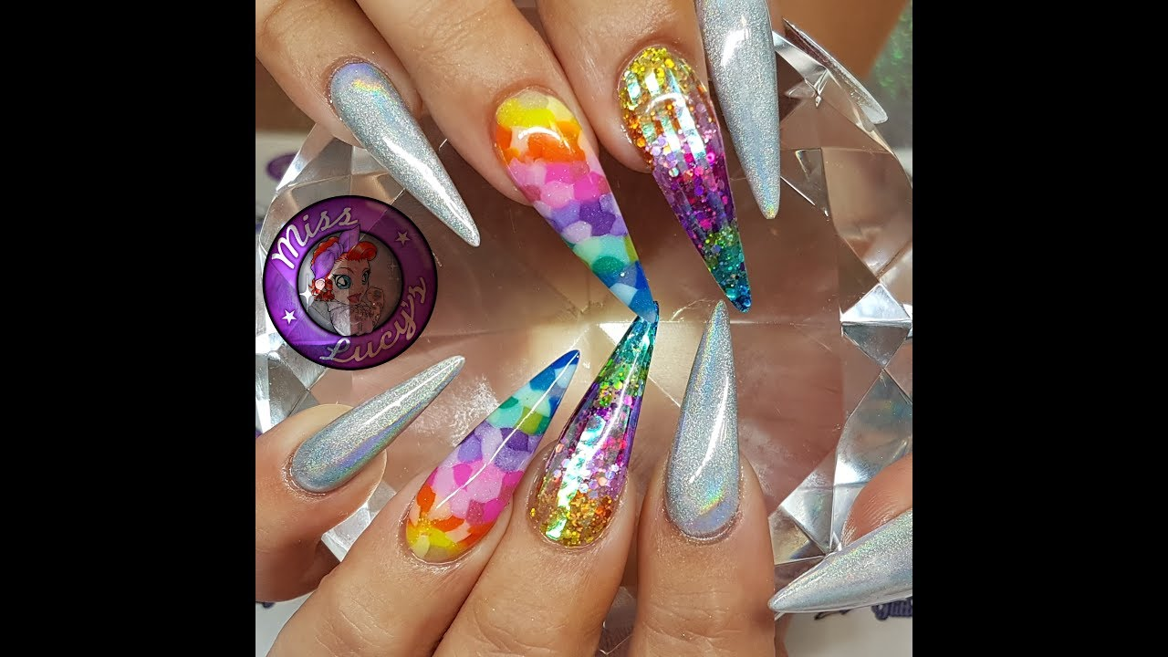 Rainbow Acrylic Nails collaboration with Liz Guild - YouTube