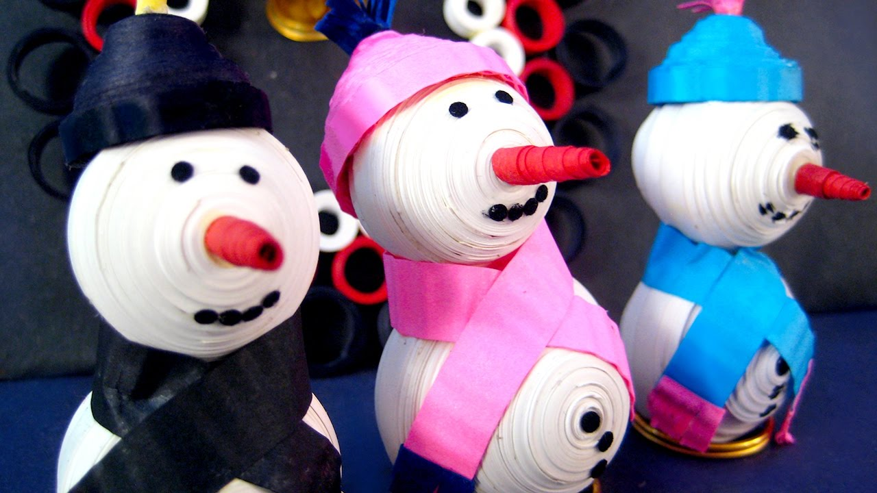 How To Make Snowman With Paper Quilling Craft Episode 14 Ekunji